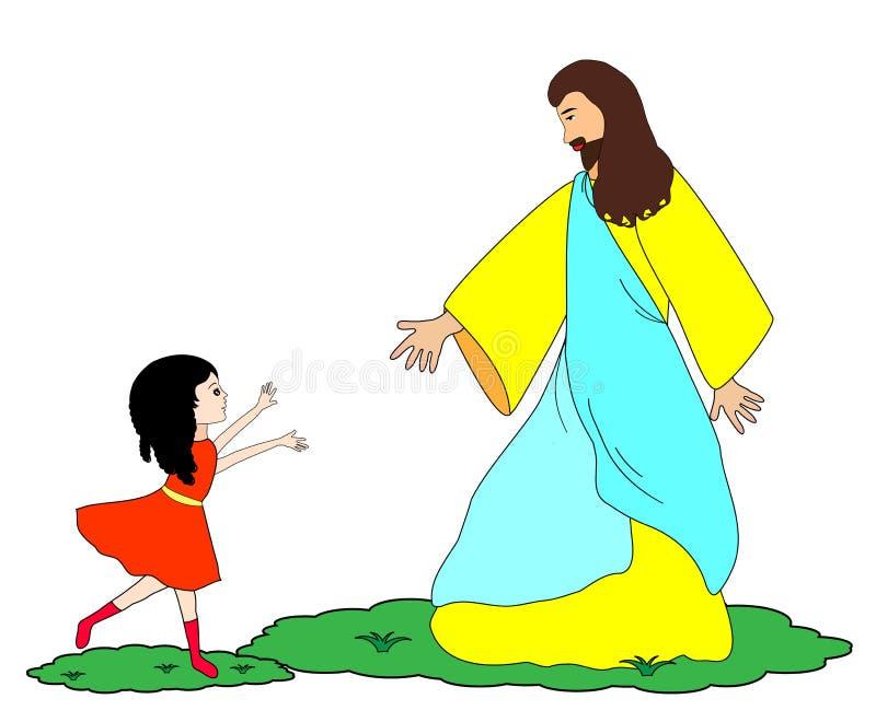 Flickan med Jesus-följer mig stock illustrationer