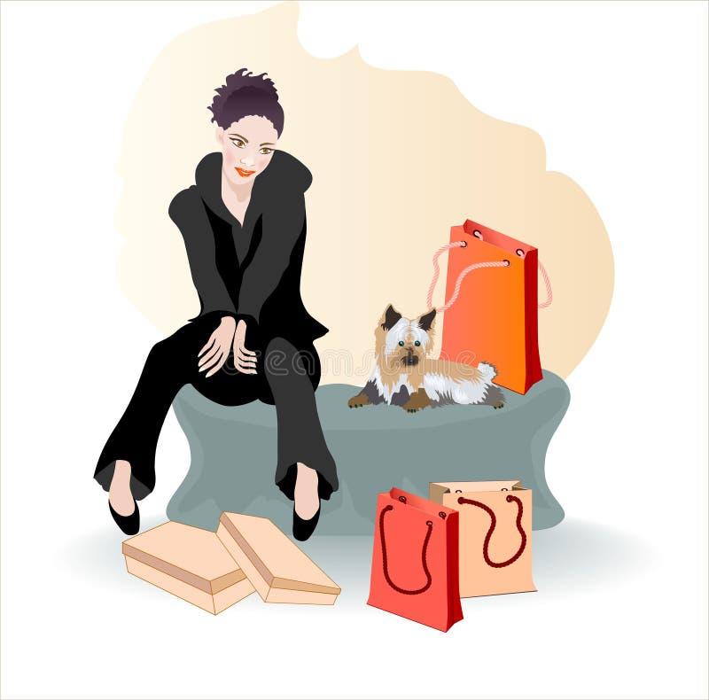 Flickan med shoppingen. stock illustrationer