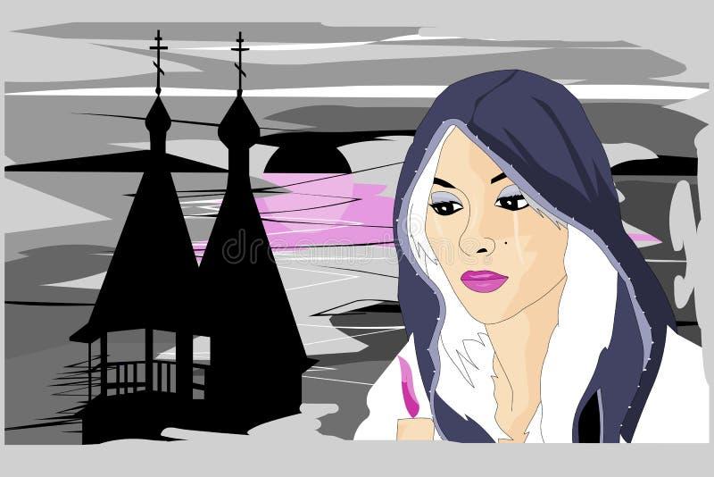 Flickan med stearinljuset stock illustrationer