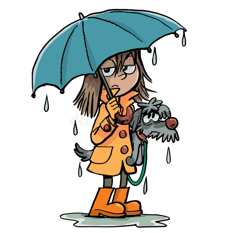 Flickan och en hund i regnet stock illustrationer