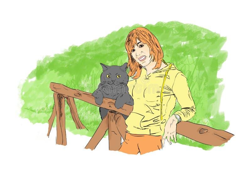 Flickan och hans katt royaltyfri foto