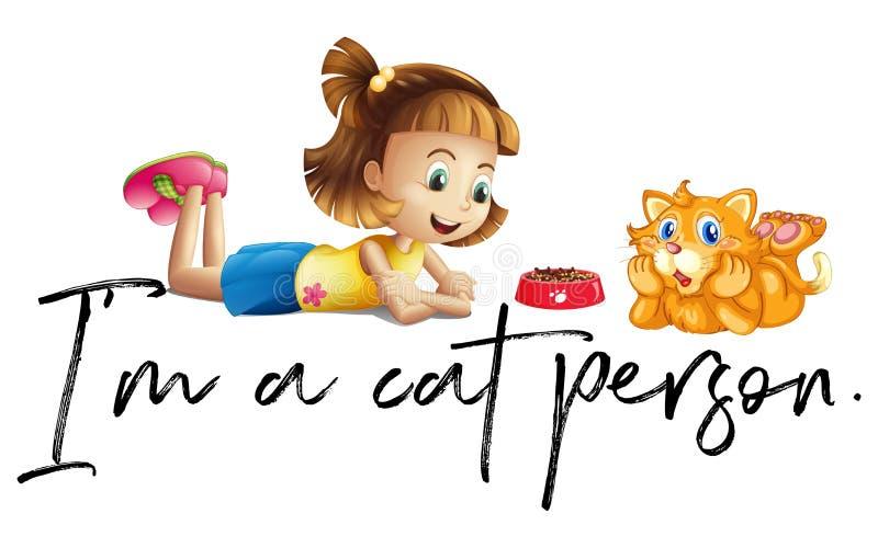 Flickan och katten med uttryck är jag en kattperson stock illustrationer