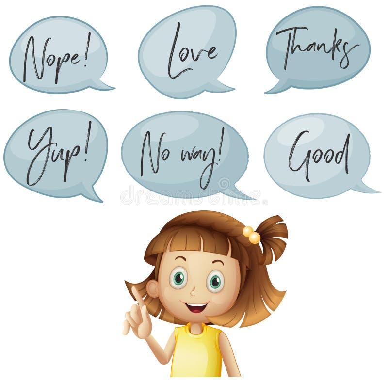 Flickan och olikt anförande bubblar med ord vektor illustrationer