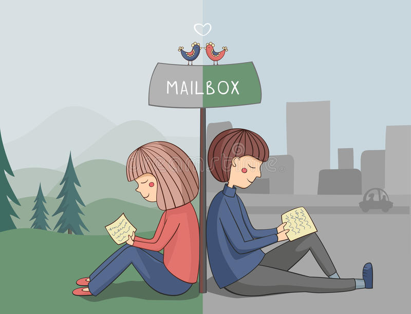 Flickan och pojken läste post stock illustrationer