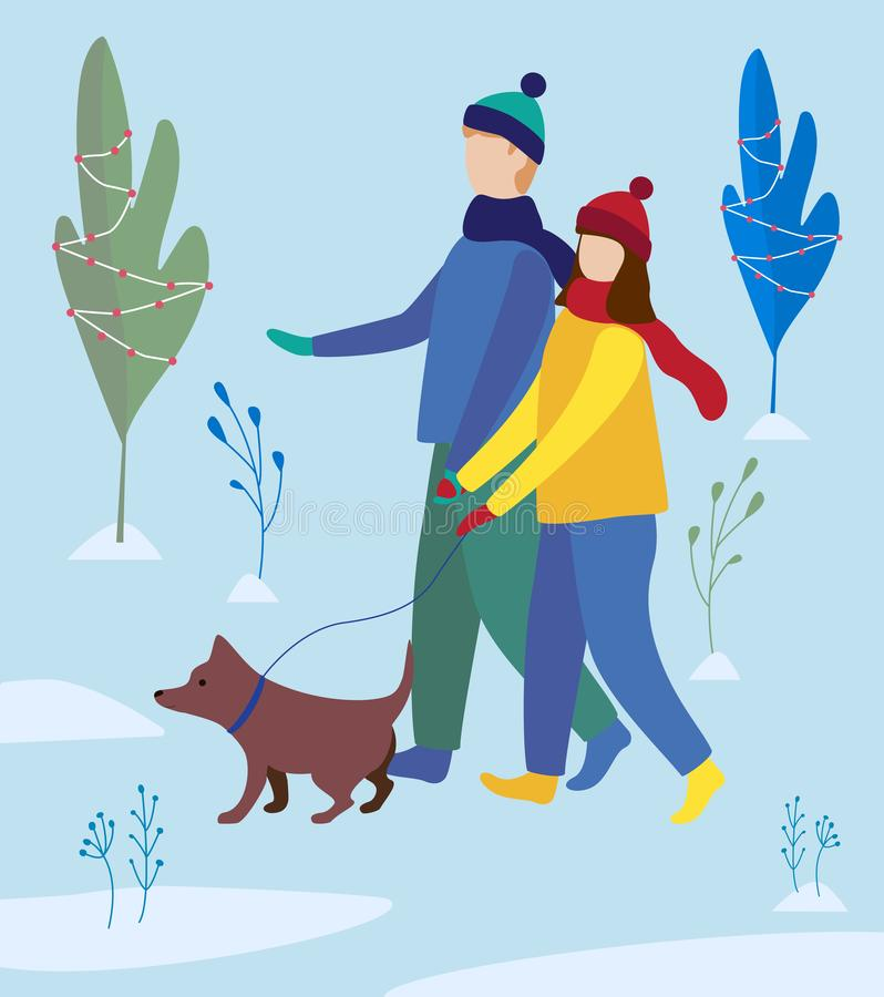 flickan och pojken som går en hund i vinter, parkerar familjen går Plan illustration royaltyfri illustrationer