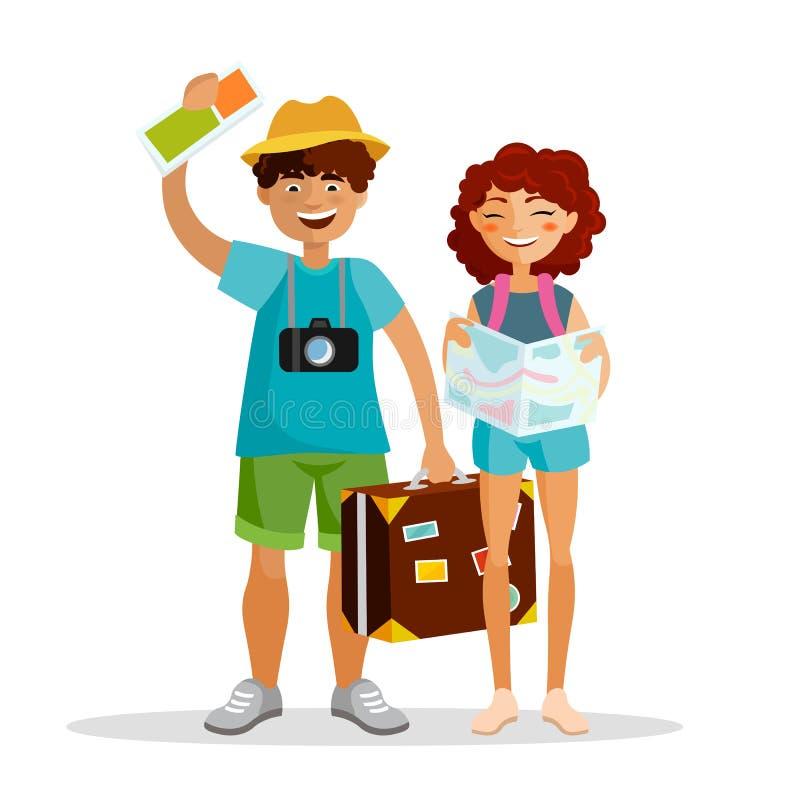 Flickan och pojken som turister reser tillsammans, isolerade på vit bakgrund Par av ungdomarhar resan med royaltyfri illustrationer