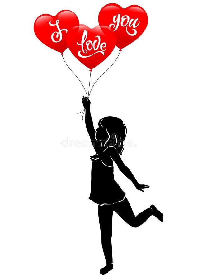 Flickan och röd ballong tre älskar jag dig stock illustrationer