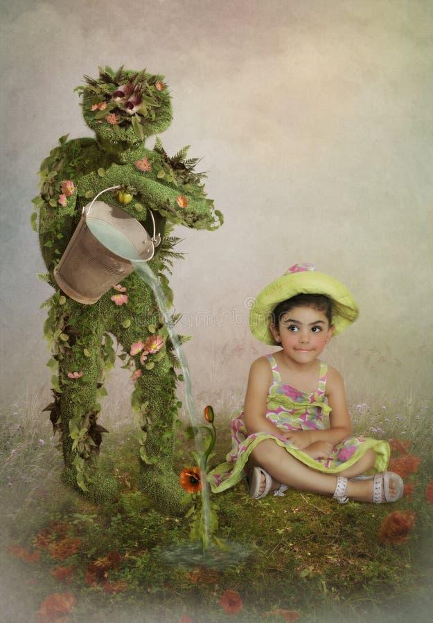Flickan och trädgårdsmästaren arkivbild