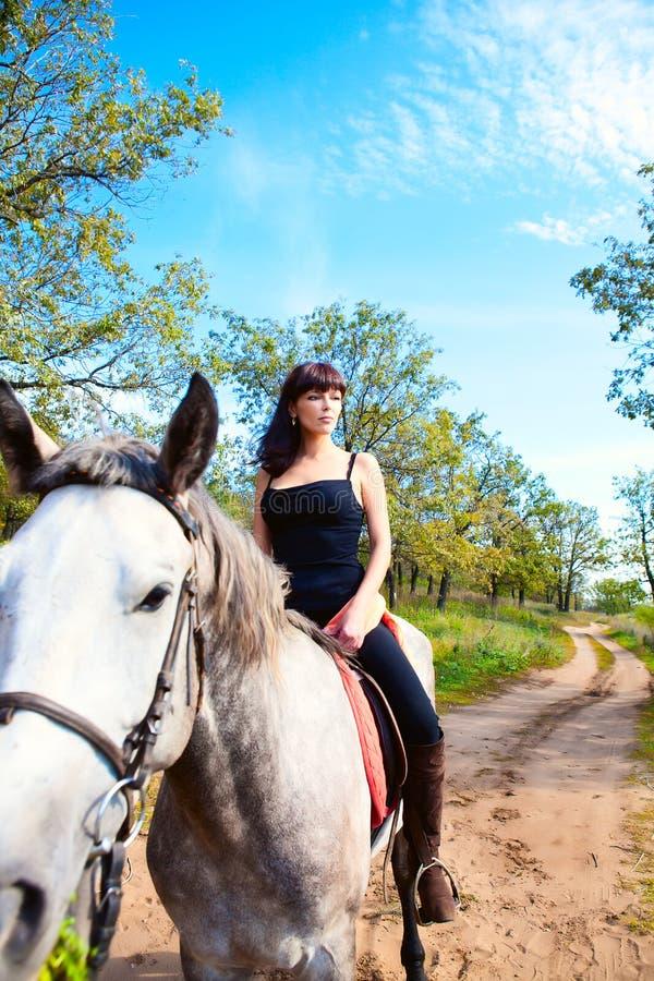 Flickan på häst går royaltyfria bilder
