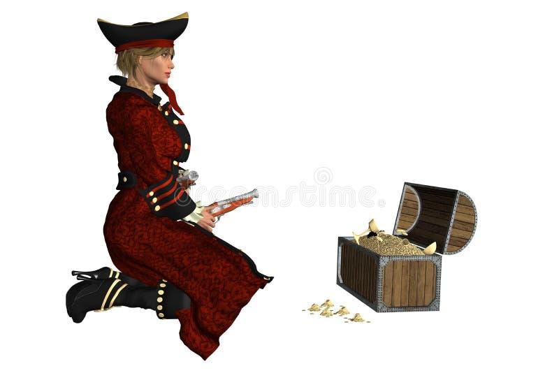 Flickan piratkopierar stock illustrationer