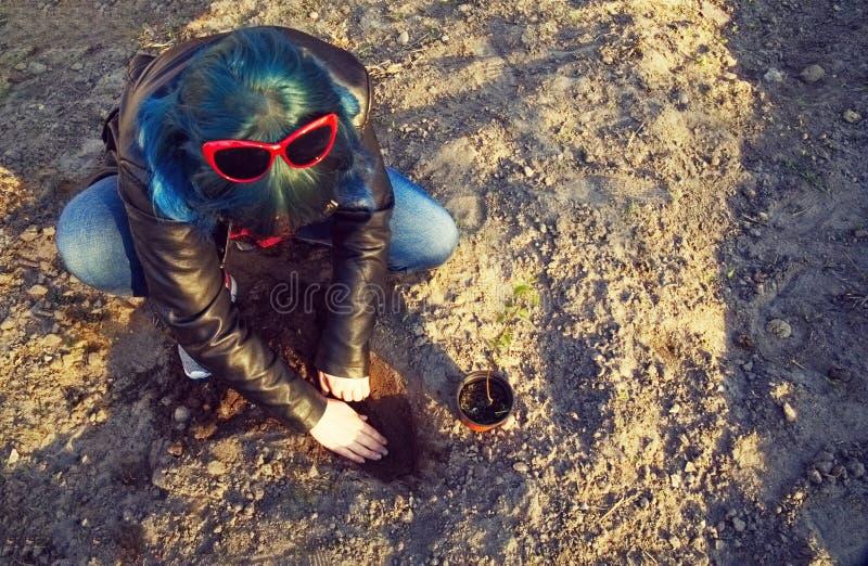 Flickan planterar ett ungt tr?d royaltyfri bild