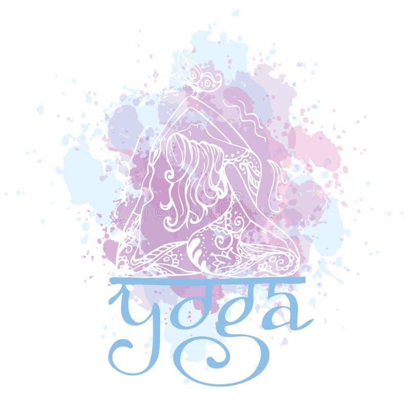 flickan poserar yoga Dragen vektorillustration för klotter hand i zent royaltyfri illustrationer
