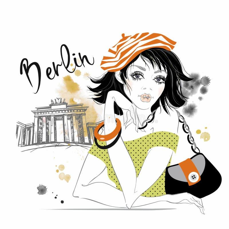 Flickan reser till Tyskland berkshires Brandenburg portar vektor vektor illustrationer