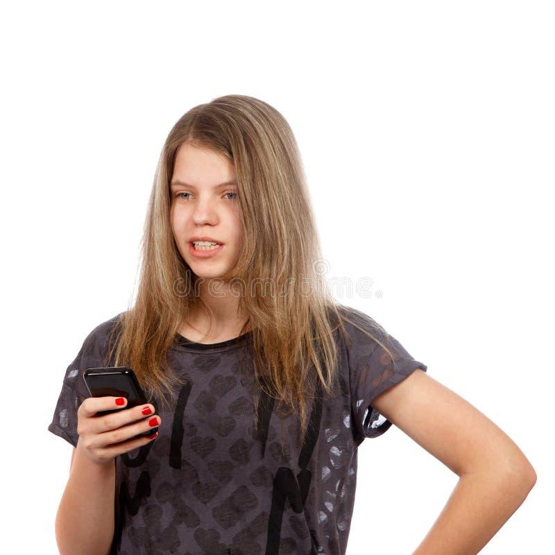 Flickan ringer på royaltyfri fotografi