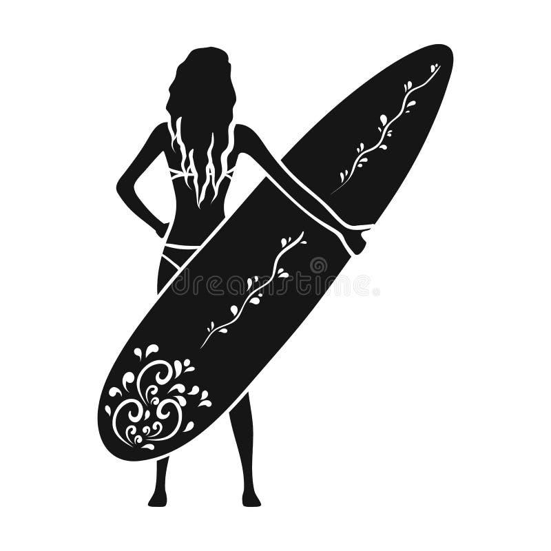 Flickan rymmer en surfingbrädasymbol i svart stil isolerad på vit bakgrund Surfa illustrationen för symbolmaterielvektor stock illustrationer