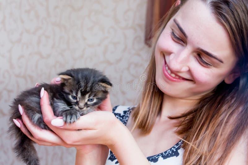 Flickan rymmer lite kattungen på henne händer Liten kattunge i säkert H arkivfoto