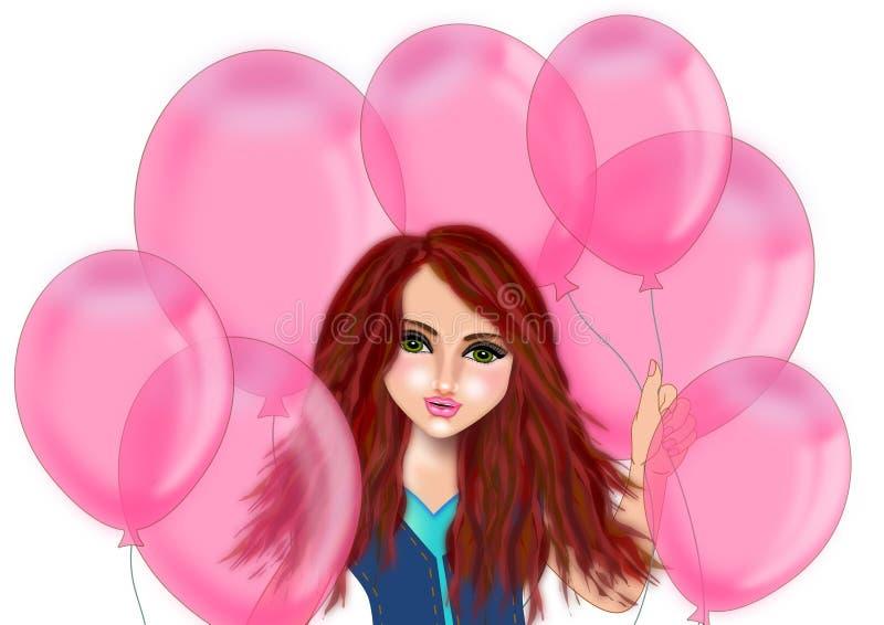 Flickan rymmer rosa ballonger vektor illustrationer