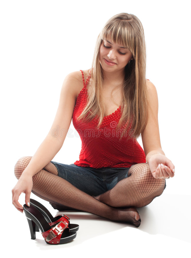flickan shoes smiley arkivbild