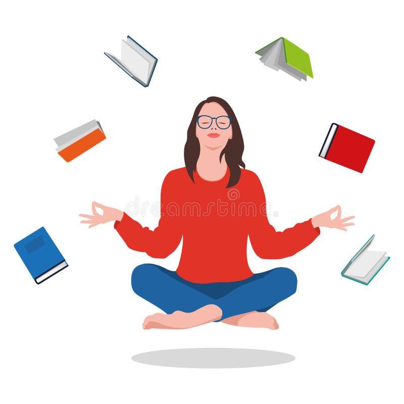 Flickan sitter i en lotusblomma poserar - zenen och mediterar på böcker Minnas vad du läste white f?r vektor f?r bakgrundsillustr stock illustrationer