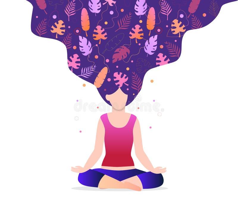 Flickan sitter i en lotusblommaposition vektor illustrationer