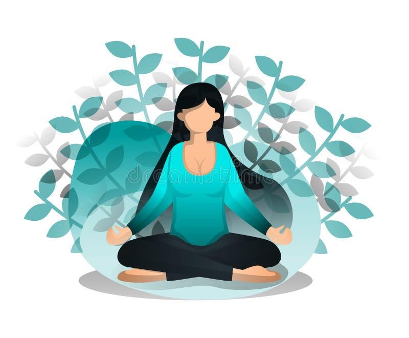 Flickan sitter i Lotus Position Fördelar av meditationen och yoga för fred av meningen och sinnesrörelse, att börja av idén och i vektor illustrationer