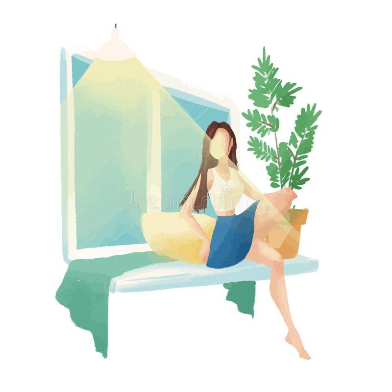 Flickan sitter vid fönstret på fönsterfönsterbrädan Närliggande är en växt i en kruka stock illustrationer