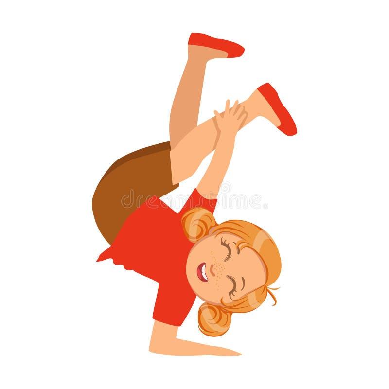 Flickan som är hållande på en hand uppochnervända dansa Breakdance som utför på etappen, skola ställer ut deltagaren med musikal royaltyfri illustrationer