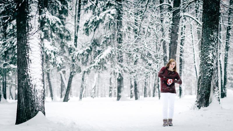 Flickan som är iklädd en rödbrun tröja och vita flåsandeställningar mot trädstammen mot en bakgrund av dentäckte vintern arkivfoton