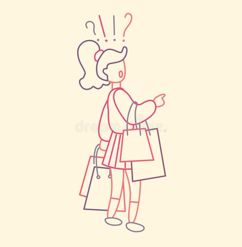 Flickan som bär många shoppa påsar med köp och, tvivlar Säsongsbetonade Sale på lagret Tunn linje plan design, vektorillustration vektor illustrationer