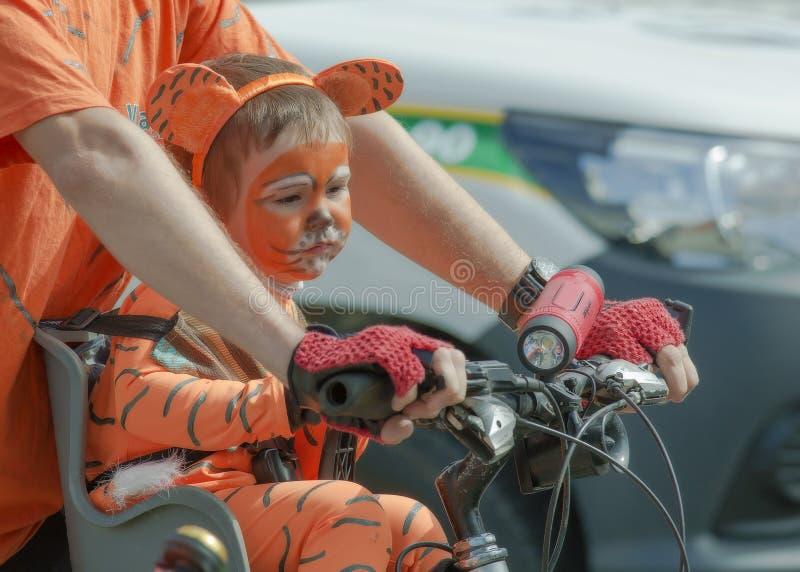 flickan som förställas som en tigergröngöling, sitter på hennes cykel för fader` s royaltyfri bild