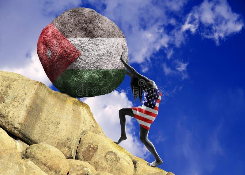 Flickan som slås in i flaggan av Amerikas förenta stater, lyfter en sten till överkanten i form av en kontur av flaggan av vektor illustrationer