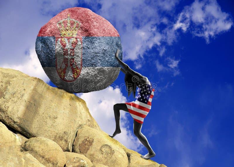 Flickan som slås in i flaggan av Amerikas förenta stater, lyfter en sten till överkanten i form av en serbisk flagga vektor illustrationer