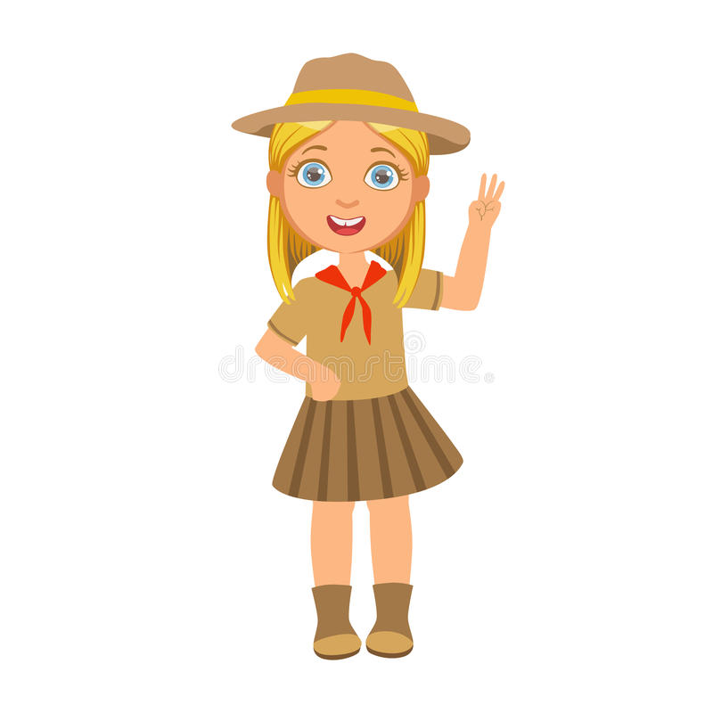 Flickan spanar att lyfta upp hennes hand och uppvisning av nummer tre, ett färgrikt tecken royaltyfri illustrationer