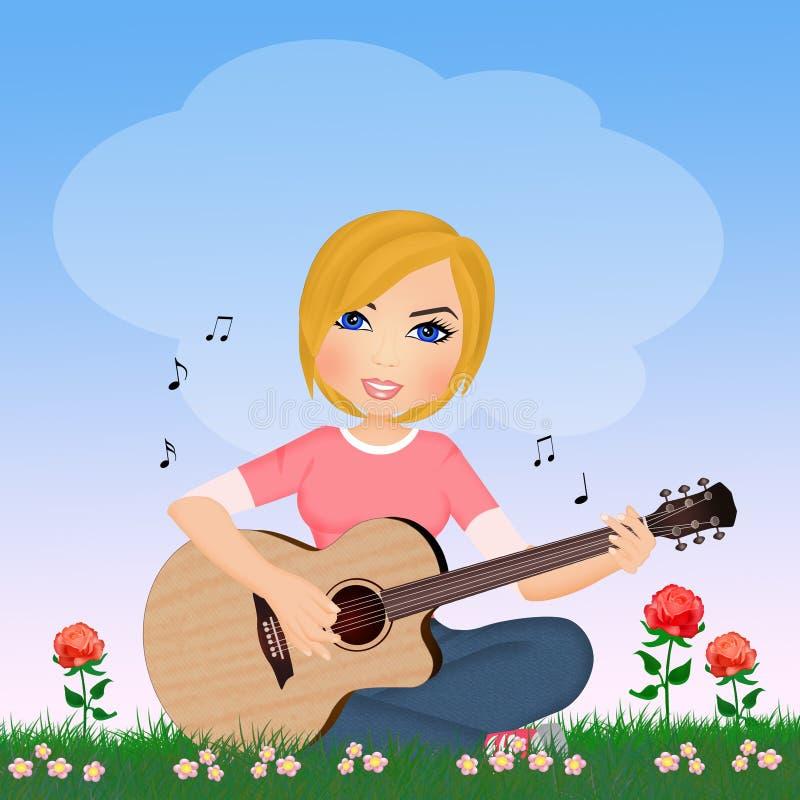 Flickan spelar gitarren i gräset royaltyfri illustrationer