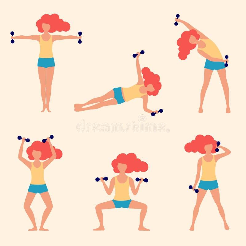 Flickan ställde in att göra övningar med hantlar, den unga kvinnan som gör övning stock illustrationer