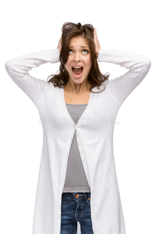 Download Flickan stänger henne öron arkivfoto. Bild av tryck, omslag - 37347816