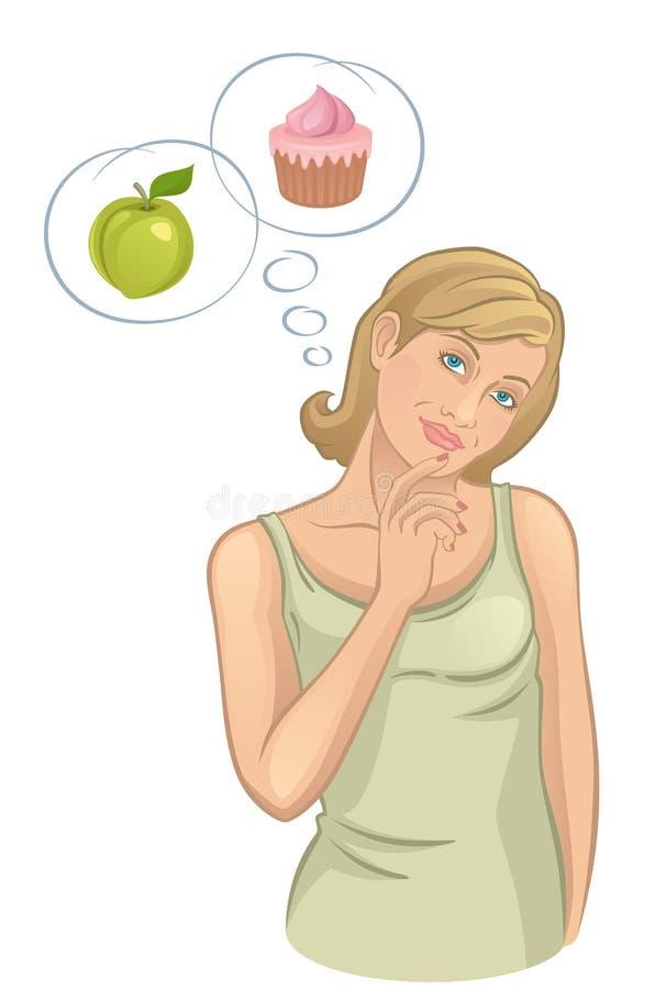Flickan tänker om mat stock illustrationer