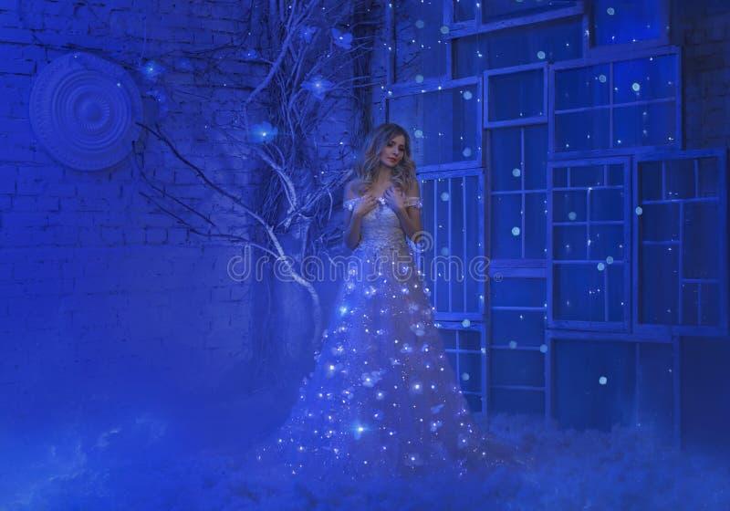 Flickan vaknade upp på julnatt, och i hennes rum vände ett vänt mirakel, magi henne in i en felik prinsessa royaltyfri bild