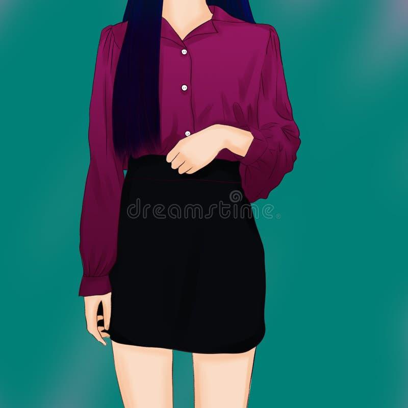 Flickans kropp i kl royaltyfri illustrationer