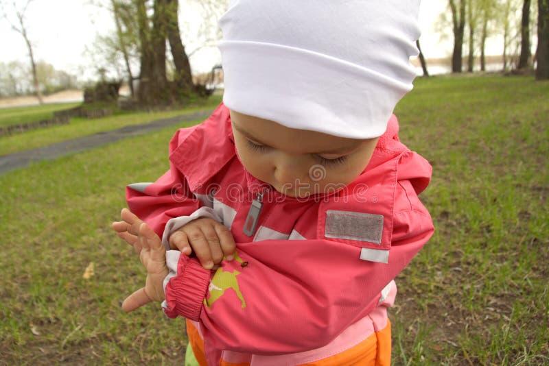 flickanyckelpiga little som ser arkivfoto