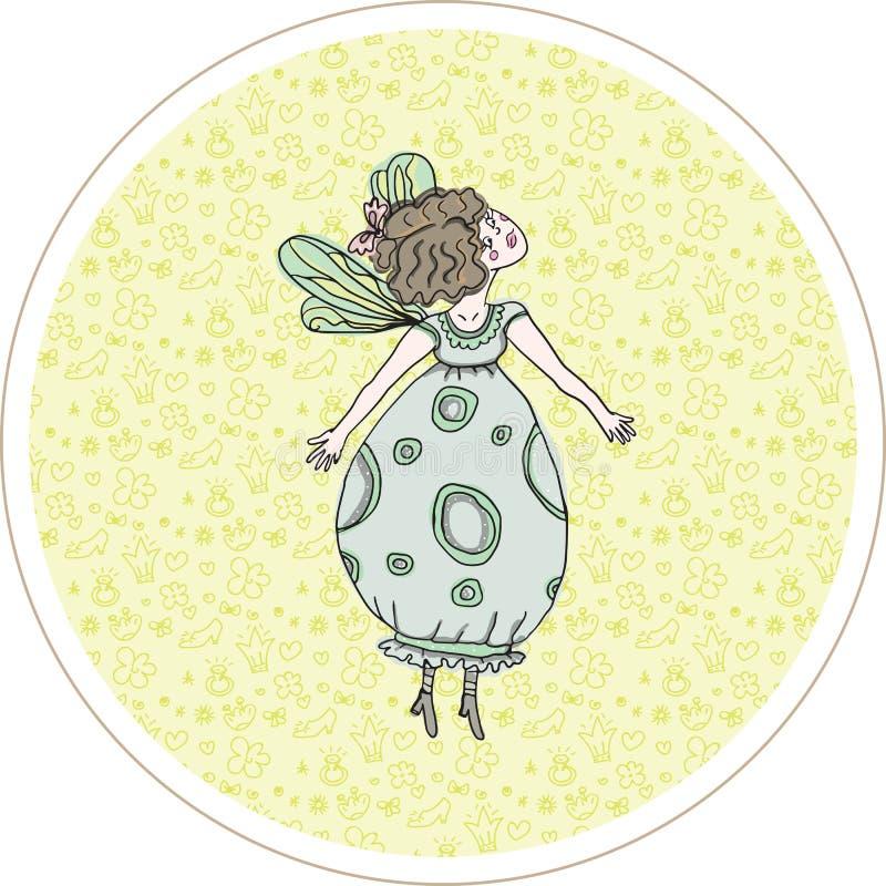 Flickaprinsessan flyger och drömmer vektor illustrationer