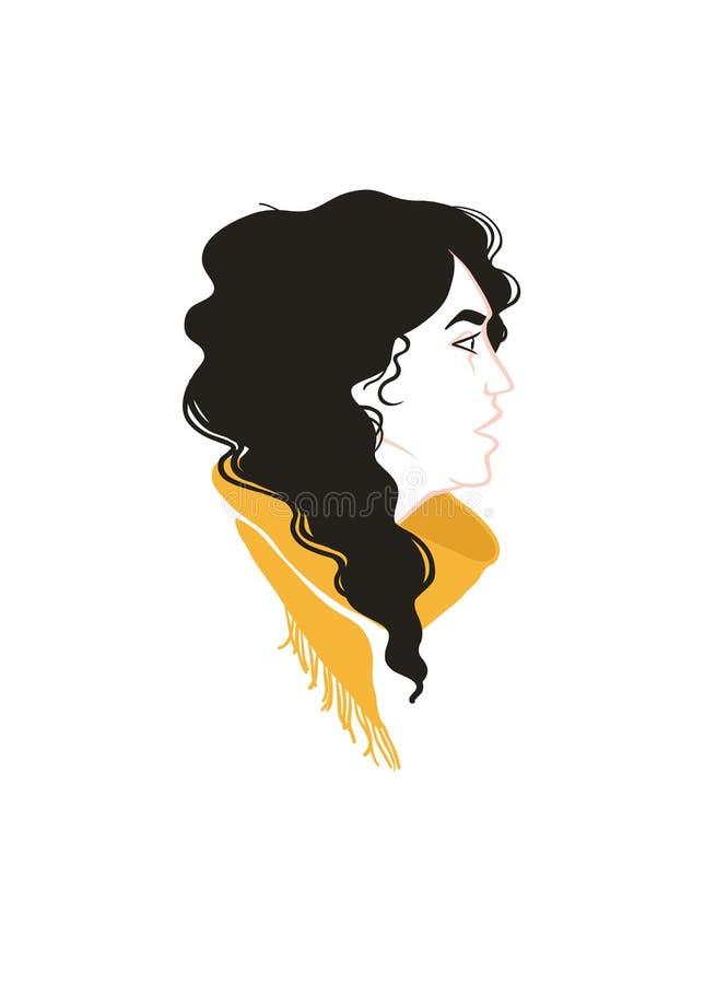 Flickaprofilstående Svart lockigt hår, gul halsduk stock illustrationer