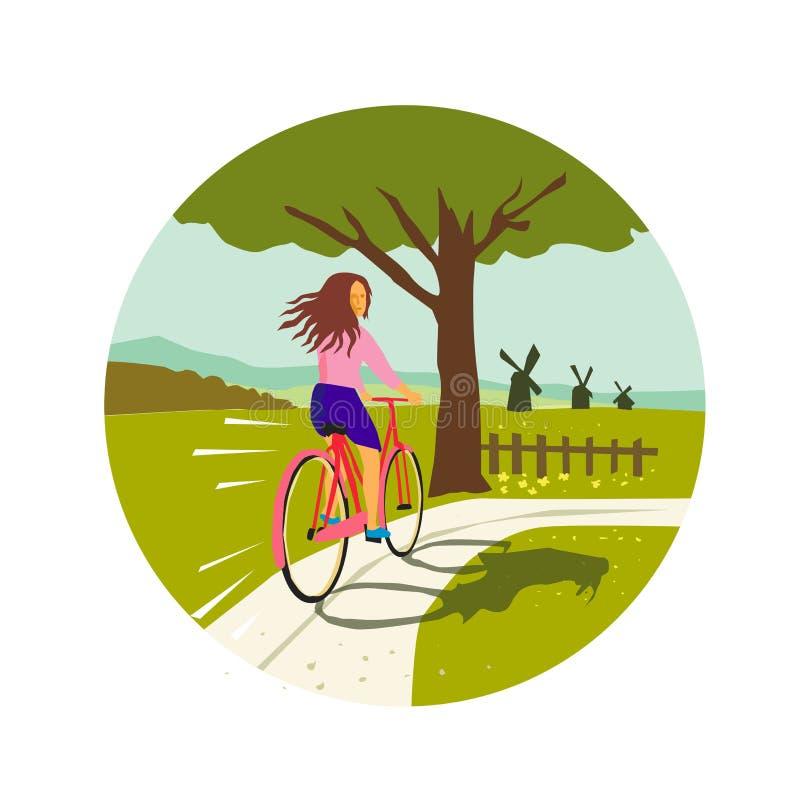 Flickaridningcykel upp den Retro trädcirkeln stock illustrationer