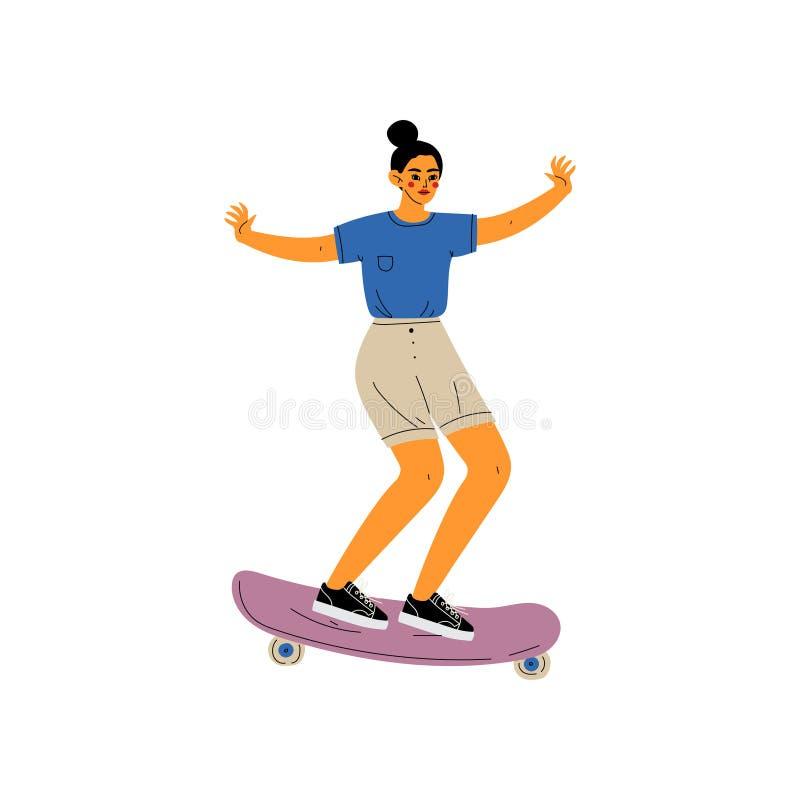 Flickaridningskateboard, kvinnligt Skateboardertecken, aktiv sund livsstilvektorillustration vektor illustrationer