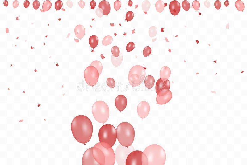 Flickas f?delsedag Bakgrund för lycklig födelsedag med röda ballonger och konfettier Berömhändelseparti m?ngf?rgat vektor vektor illustrationer