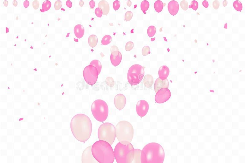 Flickas f?delsedag Bakgrund för lycklig födelsedag med rosa ballonger och konfettier Berömhändelseparti m?ngf?rgat stock illustrationer