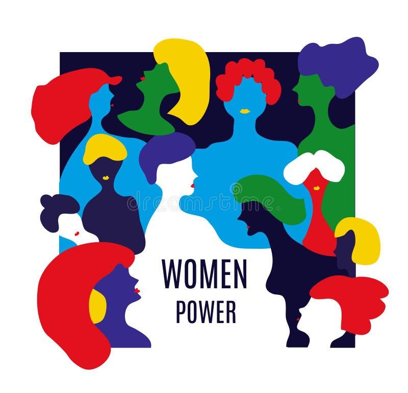 Flickas maktillustration med många kvinnor också vektor för coreldrawillustration vektor illustrationer
