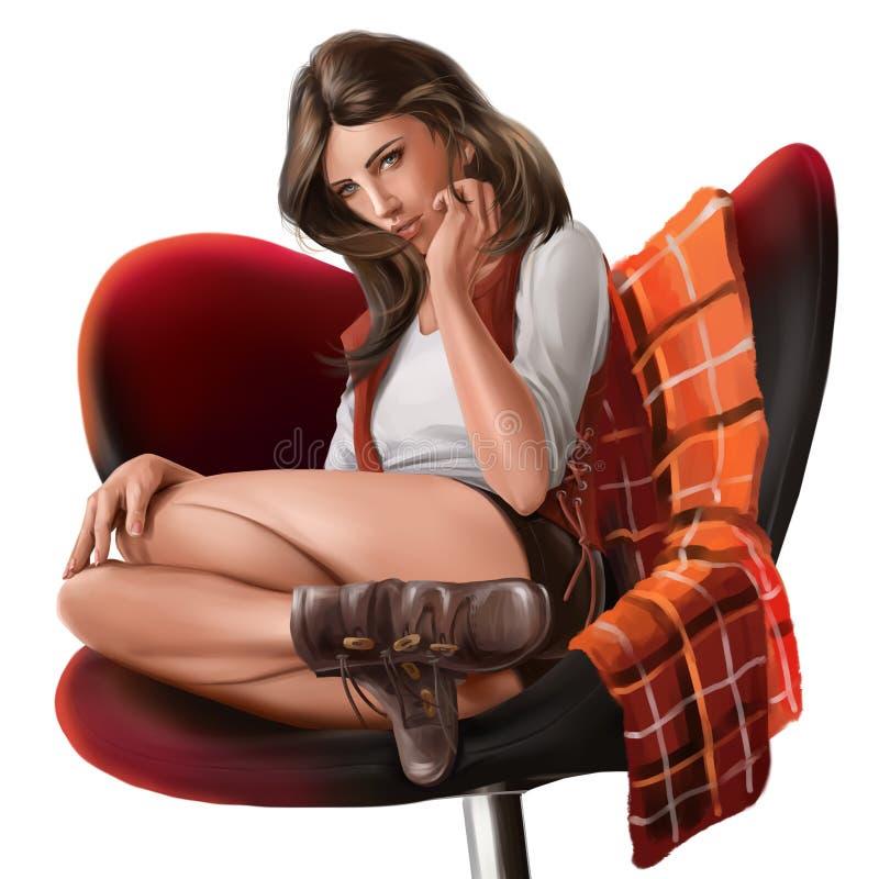Flickasammanträde i en stol för Adobekorrigeringar hög för målning för photoshop för kvalitet för bildläsning vattenfärg mycket vektor illustrationer