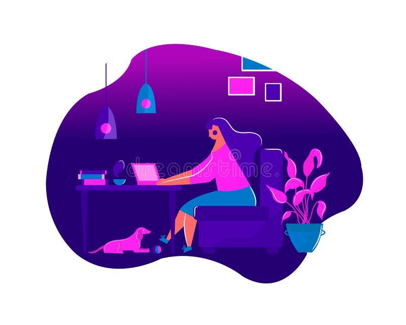 Flickasammanträde i fåtöljen som hemma arbetar på bärbara datorn på tabellfrilansarbete stock illustrationer