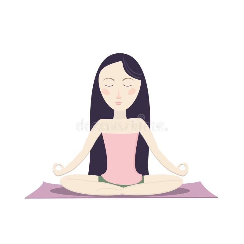 Flickasammanträde i lotusblomman poserar och att meditera royaltyfri illustrationer
